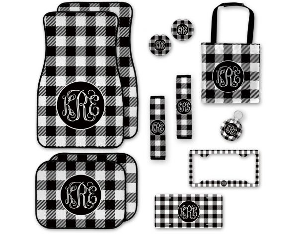 Black & White Plaid Car Accessories