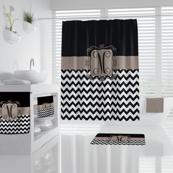 Chevron Black & Taupe Bathroom Accessories