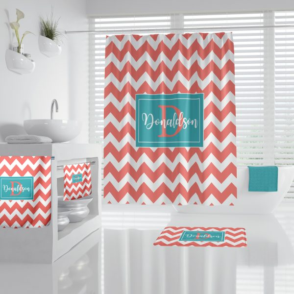 Chevron Coral (pink) & Gift Box Blue Bathroom Accessories