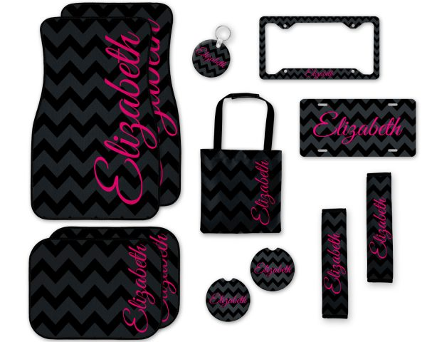 Black Chevron with Shocking Pink Car Accessories