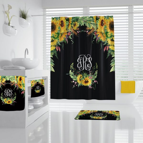 Sunflower on Black Bathroom Accessories