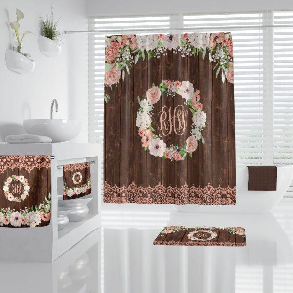 Floral Wreath on wood Bathroom Accessories