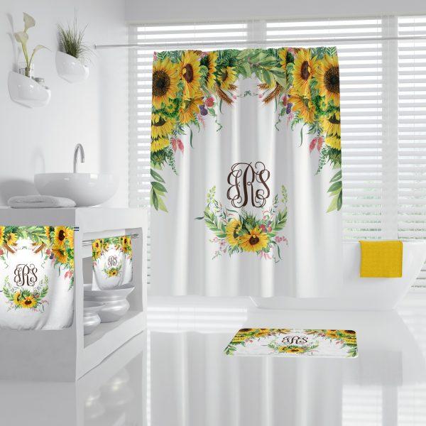 Sunflower on White Bathroom Accessories