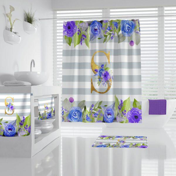 Purple Roses & Stripes Bathroom Accessories