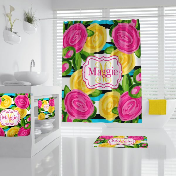 Lilly Inspired Bright Floral Bathroom Accessories