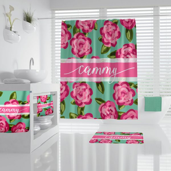 Lilly Inspired Floral on Mint Bathroom Accessories