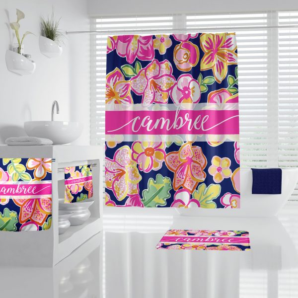 Lilly Inspired Bright Floral on Navy Bathroom Accessories