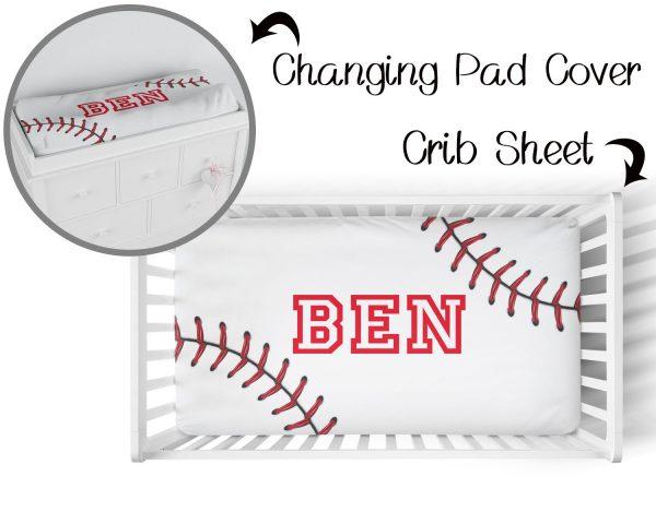 Baseball Stitching on White Crib Sheet & Changing Pad Cover