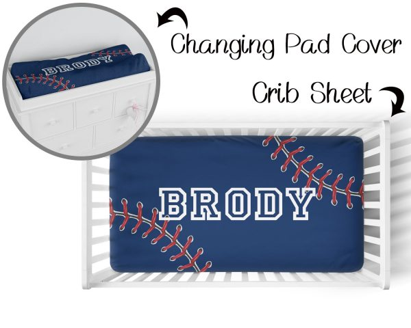 Baseball Stitching on Navy Crib Sheet & Changing Pad Cover
