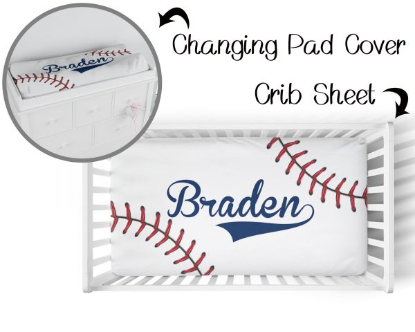 Baseball Stitching on White 2 Crib Sheet & Changing Pad Cover