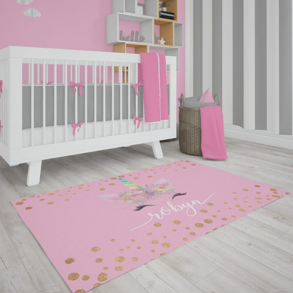 Unicorn Face on Pink Area Rug
