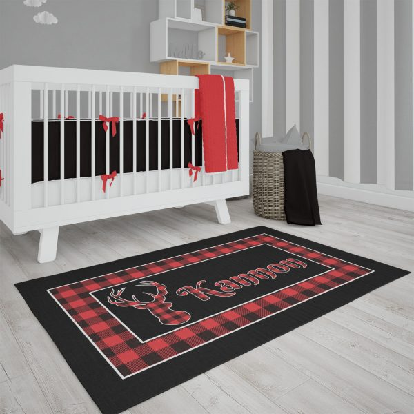 Deer Head Buffalo Plaid Area Rug